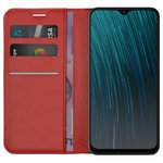 Leather Wallet Case & Card Holder Pouch for Oppo AX5s - Red
